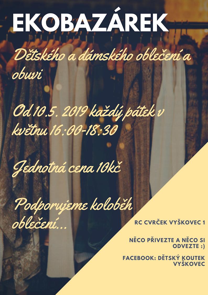 Bazárek dětského a dámského oblečení v RC Cvrček Vyškovec