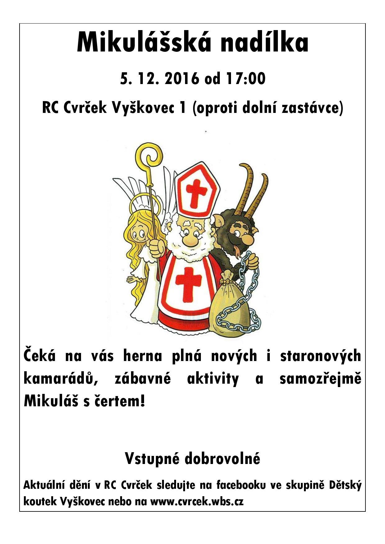 RC Cvrček - Mikulášská nadílka 2016
